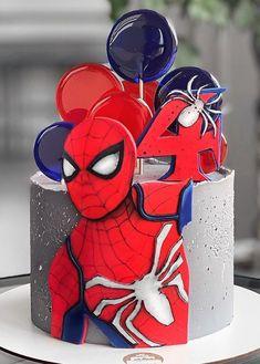 Spiderman Birthday Cake, 4th Birthday Cakes, Superhero Cake, Avenger Cake, Cupcake Cakes, Cupcakes, Elegant Birthday Cakes, Cake Logo, Cake Decorating Tips