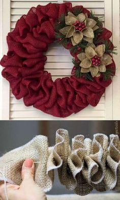 Rose Gold Christmas Decorations, Easy Christmas Crafts, Christmas Projects, Christmas Wreaths, Christmas Ornaments, Christmas Christmas, Diy Ornaments, Ideas For Christmas, Burlap Christmas