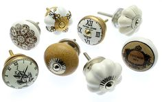 Mixed Set of 8 Gold, Cream, White and Brown Shabby Chic Ceramic Cupboard Door Knobs with Exclusive Alice in Wonderland Clock Knob - MG-38 by MangoTreeKnobs on Etsy https://www.etsy.com/uk/listing/264911846/mixed-set-of-8-gold-cream-white-and
