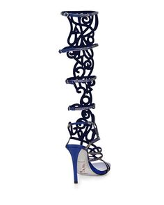 Knee High Gladiator Sandal Crystal | Rene Caovilla Knee-High Crystal Gladiator Sandal, Blue/Gold