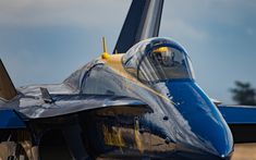 Download wallpapers McDonnell Douglas FA-18 Hornet, Blue Angels, FA-18, aerobatic team, US Navy, fighter-bomber, United States, military aircraft