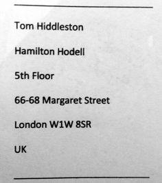 Tom Hiddleston's mailing address