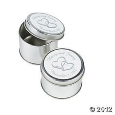 Personalized Two Hearts Silvertone Tins - gift idea