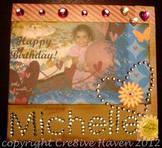 A handmade card I created for my sister's birthday today