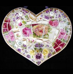 china heart mosaic - I love all of the cute ideas - Easy to figure out how they were done - (instructions not included but worth pinning)