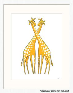 giraffe nursery art  two marigold giraffes on white  by lulufroot, $20.00