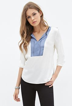 Woven Colorblocked Blouse | FOREVER21 - 2055880025