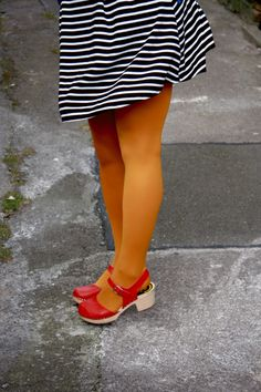 Rachel the Hat: Lotta From Stockholm::: Fantastic Shoe Giveaway! Orange Tights, Colored Tights, Wooden Sandals, Wooden Clogs, Clogs Outfit, Lotta From Stockholm, Autumn Fashion, Women's Fashion, Mustard