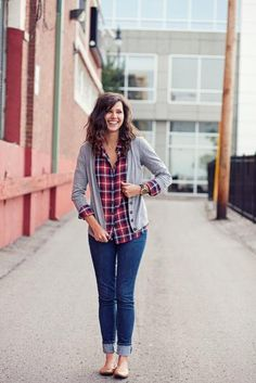 Rock a cardi over plaid and cuff your denim for a casual weekend look.