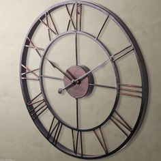 Large Metal Wrought Iron Wall Clock Provincial Roman Numerals Bronze Home Clock | eBay