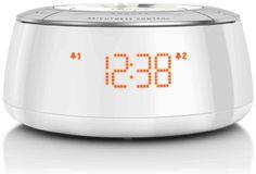 Philips AJ5000 Radio Réveil avec Tuner FM Numérique, Lumière d'Ambiance Multicolores, Réglage de l'Heure Automatique, Blanc