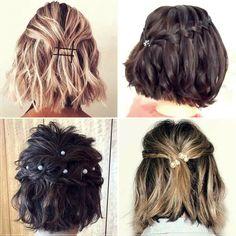 Short and medium hairstyles 2020: 150 beautiful ideas! Medium Short Hair, Very Short Hair, Short Straight Hair, Short Curly Hair, Medium Hair Styles, Curly Hair Styles, Holiday Hairstyles, Elegant Hairstyles, Summer Hairstyles