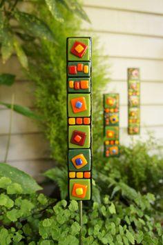 Garden Art  - Thin Green Orange Yellow Red Blue Black Fused Glass Stake. $18.00, via Etsy.