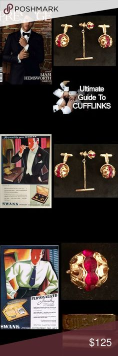 SWANK•TraditionCollection•RARECuffLinks•TieTackSet Tradition Award Collection•SWANK• RARE VINTAGE•coveted collectible  Stud Tie Tac Lapel Pin with attached chain & Cufflinks Sets SWANK Story• since 1897.over 100yrs of experience in Men's Accessories,SWANK Inc. was acquired by Randa Accessories in 2012.These are Very Handsome attractive vintage Mid Century VERY Dramatic & Unique statement SWANK with a rich accent a bright glossy attention commanding upscale Jewelry accent for anyone•Signed…