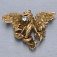 Antique Art Nouveau Griffin Pin / Pendant