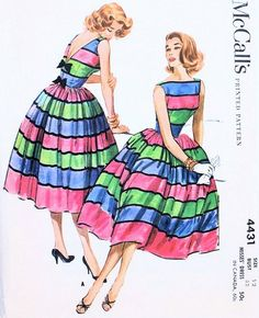 1950s McCalls Pattern 4431 Party Cocktail Dress Bateau Boat Neckline Deep V Back Full Skirt Totally Beautiful Design Bust 32