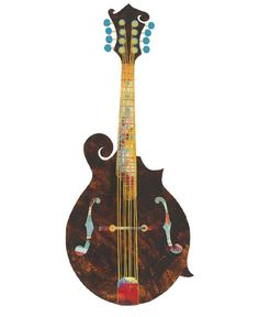 Mandolin Painted Paper Collage Art Print by PepperedPaper on Etsy