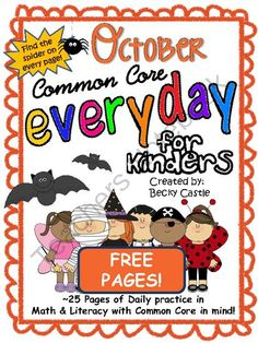 Morning Work, Daily Work, Homework - Common Core Everyday (October) - FREE pages from The Barefoot Teacher on TeachersNotebook.com (9 pages)  - Morning/Daily Work, Homework, Literacy, Math, Common Core.
