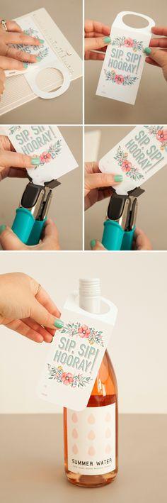 flaschen verpacken flaschenanhaenger mit botschaft wein verschenken dekorieren geschenk selber machen kreativ
