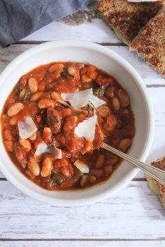 and White Bean Stew with Chicken Sausage // Protein: Chicken sausage ...