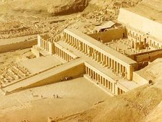 Temple of Hatshepsut -  the masterpiece of Hatshepsut's building projects was her mortuary temple. She built hers in a complex at Deir el-Bahri. It was designed and implemented by Senemut at a site on the West Bank of the Nile River near the entrance to what now is called the Valley of the Kings because of all the pharaohs who later chose to associate their complexes with the grandeur of hers. Her buildings were the first grand ones planned for that location.