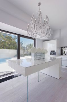 SYAA   B House www.syaa.ro #house #interior # design #kitchen #table #white #minimalist #modern #crystal #chandelier