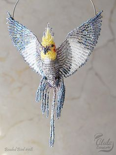 Cockatiel Suncatcher, Bird Ornament, Bird Necklace, Bird Lover Gift, Cockatiel Bird Figurine, Beaded Bird Window Decor, Car Charm, BB #118