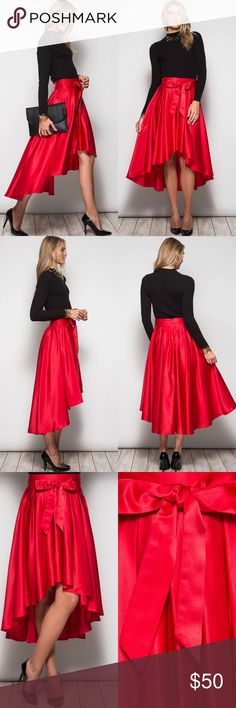 "🎉HP🎉 Red High-Low Bow Waist Taffeta Midi Skirt New with tags. Red high-low formal taffeta midi skirt with waist tie bow detail. Model is 5'11"".                                         🌸80% cotton, 20% polyester.                                                🌺PRICE IS FIRM UNLESS BUNDLED.                             ❌SORRY, NO TRADES. Boutique Skirts High Low"
