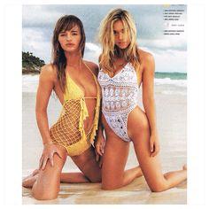 #TerezaKacerova and #AlexisRen are both wearing AnnaKosturova #handmade #crochet monokini in #Surfingmag swim issue. #boho #beach #surf #bikini