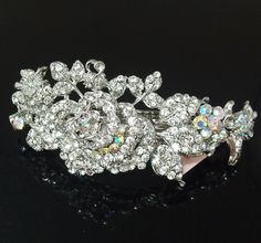 New Silver color Rhinstones Crystal Silver Tone Metal rose flower hair claws clips Barrette >>> Check this awesome product by going to the link at the image.
