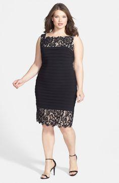 Betsy & Adam Lace Trim Shutter Pleat Sheath Dress (Plus Size) Nice Dresses, Casual Dresses, Fashion Dresses, Dress Plus Size, Plus Size Outfits, Dress Skirt, Dress Up, Lace Sheath Dress, African Dress
