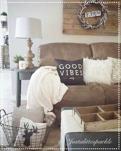 Fresh Brown Living Room Decor Rustic Fresh Brown Living Room Decor Rustic - Not since the have shades of tan, taupe, burlap, and bronze have been en vogue, their renewed popularity . Cozy Living Rooms, Living Room Sofa, Living Room Decor, Bedroom Decor, Brown Home Decor, Home Decor Hacks, Decor Ideas, Brown Couch, White Pillows