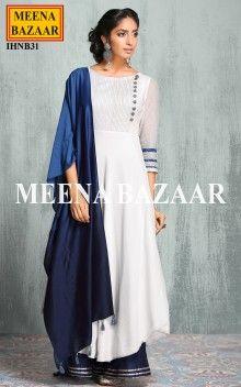OffWhite & blue Anarkali Suit