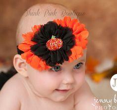 Halloween Headband, Baby Headband,Baby Headbands,baby girl headband,Halloween baby headband,Shabby Chic Flower Headband,Baby Hair Bows. $7.95
