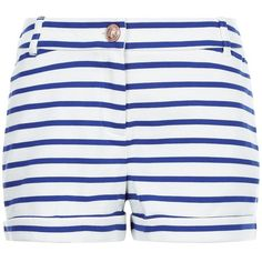 Petit Bateau Blue Striped Cotton Shorts (315 RON) ❤ liked on Polyvore featuring shorts, multi, beach shorts, blue shorts, striped shorts, nautical shorts and cuffed shorts