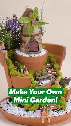 Diy Crafts Hacks, Diy Home Crafts, Crafts To Do, Crafts For Kids, Diy Garden Projects, Garden Crafts, Diy Fairy Garden, Fairy Garden Pots, Plant Crafts