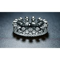 Cubic Zirconia Princess Crown Ring by Barzel 5 (15 CAD) ❤ liked on Polyvore featuring jewelry, rings, jewelry & watches, silver, crown jewelry, cubic zirconia rings, cubic zirconia jewelry, sparkling jewellery and cz jewelry