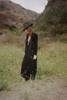 Kelley Ash by Graham. Black, textures, hat, pointed shoe