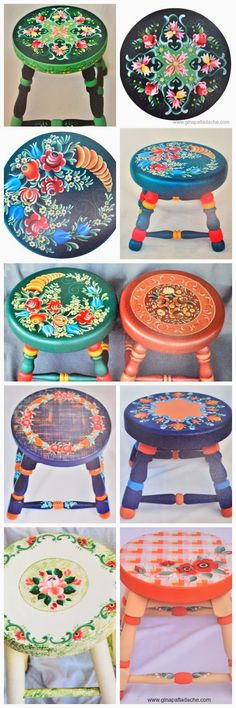 Atelier Gina Pafiadache: Bancos em Bauernmalerei Growing up, there was always a stool like this to stand on to brush your teeth. Hand Painted Furniture, Funky Furniture, Paint Furniture, Upcycled Furniture, Furniture Makeover, Tole Painting, Painting On Wood, Chair Painting, Decoupage