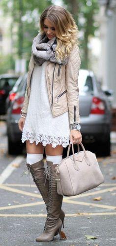 #fall #fashion / boots + crochet dress