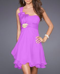 One-shoulder A-line Beaded Short Chiffon Bridesmaid Dress (HOD223)
