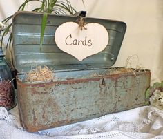 Wedding Card Box Vintage Fishing Box Rustic by ButterBeanVintage I like this idea... would be incorporating something chuck loves too!