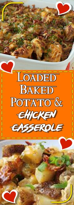 Loaded Baked Potato & Chicken Casserole Via #yummymommiesnet #chicken chicken #chickendinner chicken dinner recipes #recipes recipes #sundaysupper sunday supper ideas #chickensalad chicken salad recipe #chickencasserole chicken casserole recipes