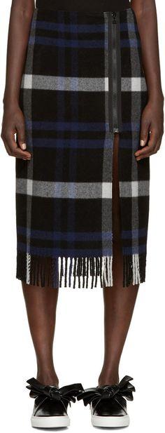 Cedric Charlier Blue Plaid Fleece Skirt