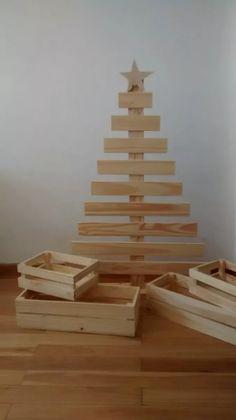arbolito de navidad de madera tipo palet vintage navideño