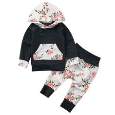 New Style Fashion Newborn Baby Boy Girl Clothes Hooded Tops Long Pants Leggings 2pcs Baby Clothing Outfits Set #Affiliate