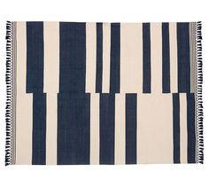 Bonnie Stripe Indoor/Outdoor Rug, 8x10', Navy Blue | Pottery Barn