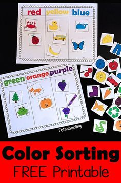 FREE Color sorting printable for toddlers and preschoolers perfect for learning colors, increasing vocabulary, promoting language and speech development.