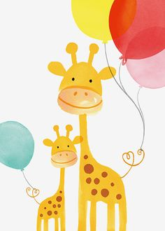 Margaret Berg Art: Giraffe Mom & Baby with Balloons