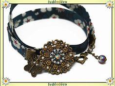 Bracelet rétro vintage fleur tissage perles japonaises, tons noir vert bleu blanc, tissu liberty fleuri, estampe fleur papillon laiton bronze